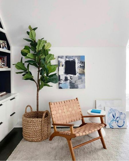 Faux fiddle leaf tree in basket and modern woven chair. Neutral home decor http://liketk.it/3gTPh #liketkit @liketoknow.it   #LTKhome #LTKstyletip #LTKunder100