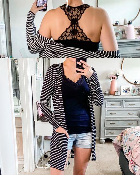 Code JULES20 at grace and lace Lace racer back tank- one size Black and white striped lightweight cardigan- xs  #LTKunder50 #LTKsalealert #LTKworkwear