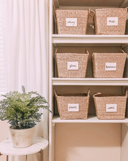 Sigh of relief! If you swipe right you'll know why this shelf was bringing me no joy whatsoever. But a few cute new wicker baskets and some quick DIY wooden labels made this corner feel complete again!! It's the little things! http://liketk.it/36EPt #liketkit @liketoknow.it
