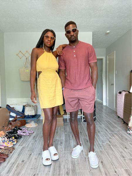 Yellow halter cut out linen dress, white platform sandals, men's burgundy Henley shirt and burgundy pull on shorts.   #LTKmens #LTKunder100 #LTKtravel