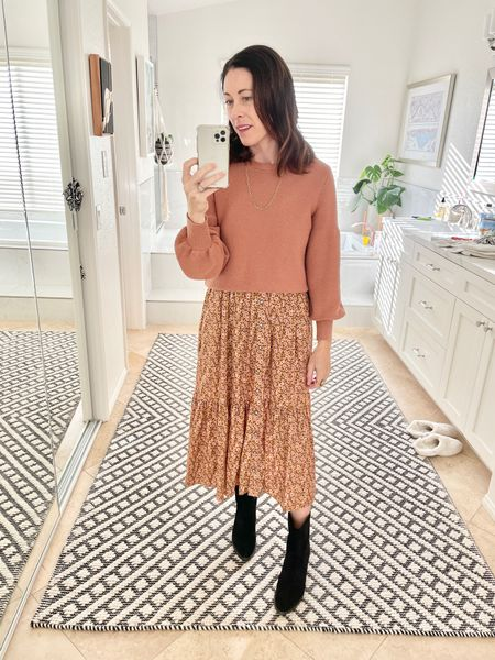 Dress - layered over with a balloon sleeve sweater  Shoes - Dolly Boots Freda Salvador  15CONNI - fit true to size or sis up 1/2   #LTKSeasonal #LTKshoecrush #LTKstyletip