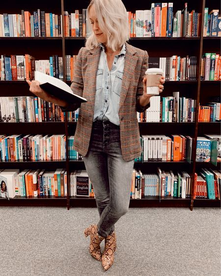 How to wear two fall trends: snakeskin booties and a plaid blazer! Great thanksgiving outfit idea 🦃  Snakeskin print booties: $32 Fit TTS Linked several similar boots and blazers at different price points 👍🏻👍🏻  http://liketk.it/2GyG0 @liketoknow.it #liketkit #LTKshoecrush #LTKunder50 #LTKstyletip Boohoo, Old Navy, fall jacket, Gap, chambray, #ltkfall