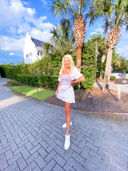 White floral designer inspired dress size L. Runs small so size up! Use code KIM15 for 15% off! White sneakers - run big so size down 1/2 size.  Pink bracelet stack White bracelet stack  Gold necklace  Summer dress, designer inspired dress, floral dress   #LTKshoecrush #LTKstyletip #LTKunder100