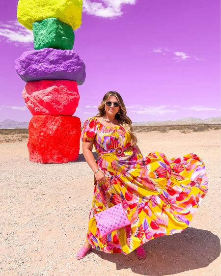 the most fun colorful maxi dress 🌈 wearing size xl   #LTKcurves