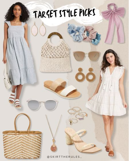 Target fashion, Target finds, summer fashion, summer dress, spring dress, graduation dress, bridal shower dress, beach vacation outfits: blue and white striped dress, pink statement earrings, crochet bag, pastel scrunchies, pink bow tie, beige caters sunglasses, raffia earrings, beige and white slide sandals, white sunglasses, straw tote bag, pink pendant necklace, straw mules, gold delicate rings, white tassel dress, white dress. @liketoknow.it http://liketk.it/3eUuM #liketkit   #LTKunder50 #LTKstyletip