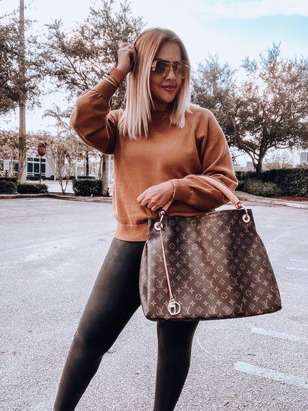 Cashmere Sweater, Spanx Faux leather leggings, Louis Vuitton bag, golden goose animal print sneakers, leopard print sneakers   #LTKitbag #LTKsalealert #LTKSeasonal