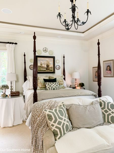 Fall bedroom with gorgeous toile fabric in shades of green, caramel and soft neutrals. Ruffles and velvet add a romantic touch.   #LTKstyletip #LTKhome #LTKSeasonal