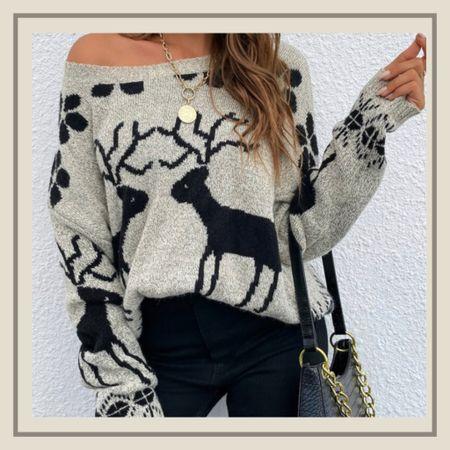 Reindeer Christmas pattern holiday sweater from Shein   #LTKstyletip #LTKunder50 #LTKHoliday