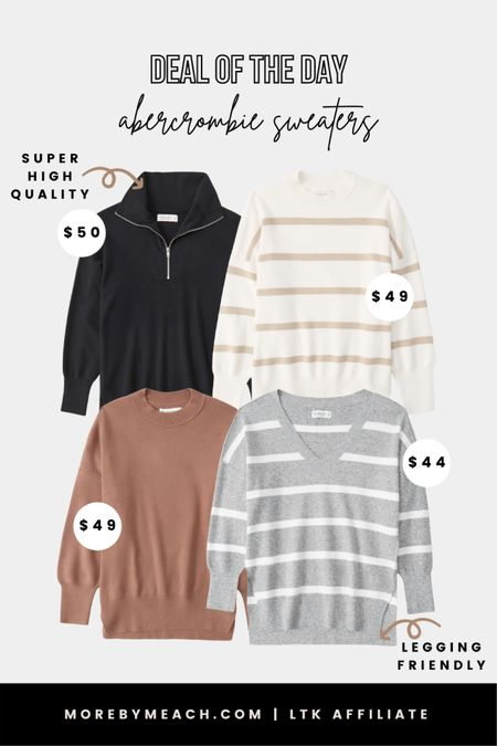 My favorite sweaters to wear with leggings are on sale for under $50 today!! They are SUPER high quality and so perfect for fall layers / cute fall outfits! And more colors are available. They are designed to be oversized, so you might want to size down one size if you don't love that fit. I got my true size, a small, and it's still bump friendly at 35 weeks. Click to shop! | Abercrombie, women's sweaters, long sweaters, striped sweaters, plain sweaters, fall capsule wardrobe, daily deal  #LTKunder50 #LTKsalealert #LTKSeasonal