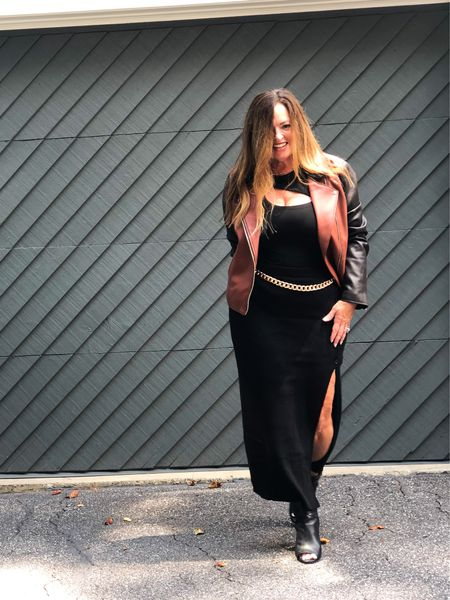The Fall edit!   Two tone moto jacket ☑️ Cut out body suit☑️ Black sweater skirt☑️ Gold chain belt☑️  My hair is a bit frizzy and my face puffy from a sinus infection. Keeping it real on the Gram.  #LTKSeasonal #LTKstyletip #LTKcurves