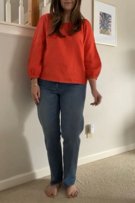 Sharing how to get the proper fit in straight jeans:  You'll want to consider 3 things when trying on straight jeans:  1️⃣ sizing in thigh area 2️⃣ length—no bunching at your feet 3️⃣ no saggy butt  The regular fit fits me better than the curve love fit, but I'm linking both below. I'm in a size 31 regular (size up if between sizes, no stretch) in the medium wash.  Currently 15% off and selling out quickly!   Best jeans // fall looks /: Abercrombie   #LTKunder100 #LTKsalealert #LTKstyletip