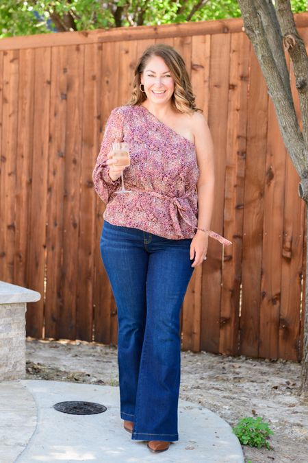 Gibsonlook x Hey Nasreen Collection perfect for fall use code RYANNE15 for 15% off  Blouse, L // Spanx flare jeans size XLP // booties size up 1/2  Fall outfits  Date Night  Off the Shoulder One shoulder  Family Photos    #LTKcurves #LTKsalealert #LTKSeasonal