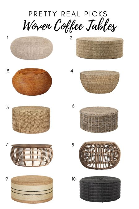 Gorgeous woven coffee tables, rattan coffee table, round coffee table, drum coffee table, studio McGee   #LTKhome