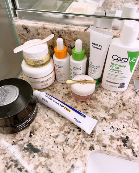 My current routine for day and night.  It's really simple and I try not to deviate for it.  AM CLEANSE: @devianskincare and cerave  TREAT: @paulaschoice vitamin c and Niacinamide serum followed by azelaic acid cream Moisturize: @biologique placenta  Protect: not pictured but currently I'm using @supergood and @eltam  PM Repeat CLEANSE TREAT: tret got a prescription  After an hour or so I apply a thick cream. I love @youthtothepeople super berry dream mask.    Shop my post by following me on the LIKEtoKNOW.it shopping app @pinksole_rach or via LINK IN BIO.   http://liketk.it/3h7Ky #liketkit @liketoknow.it #LTKbeauty