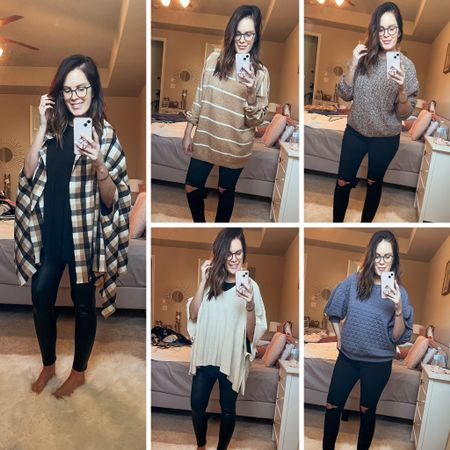 Ponchos: OS Camel sweater: L 2 others: M Leggings: L Jeans: 8