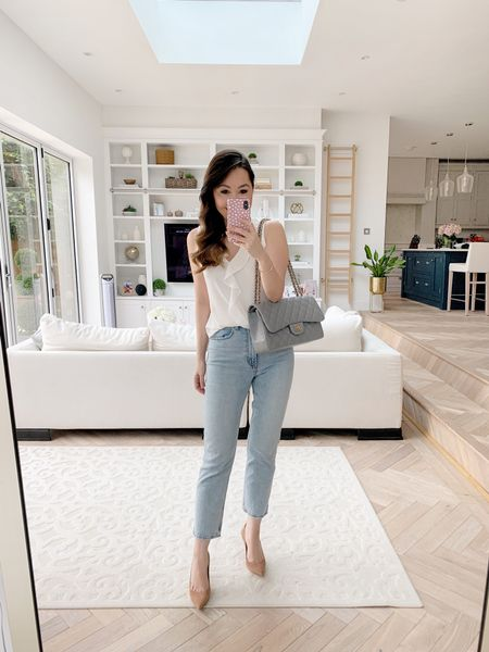 Flattering straight leg jeans (size 27) with simple suede nude pumps and a white ruffle blouse ❤️   I took a size XS in the top and the shoes are TTS ✨