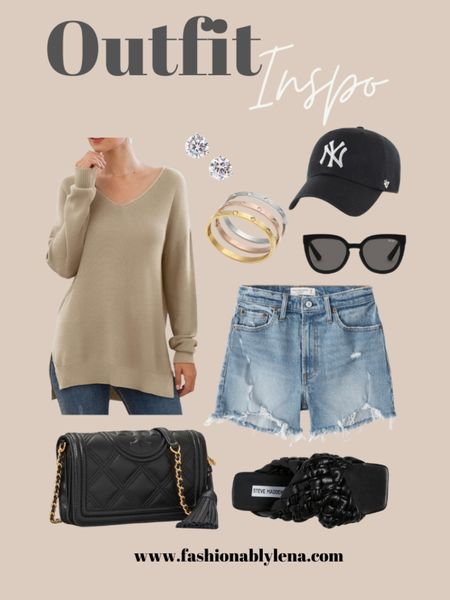 Spring outfit ideas, spring sweater, outfit sweater, mom shorts, quilted bag, Tory Burch bag, braided sandals, spring sandals, stud earrings, gold bracelets, oversized sunnies   #LTKunder100 #LTKstyletip