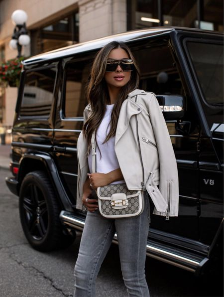 Fall outfit ideas  Express gray denim  Gucci white mini Horsebit bag  AllSaints white leather jacket wearing a US 4   #LTKsalealert #LTKitbag #LTKstyletip