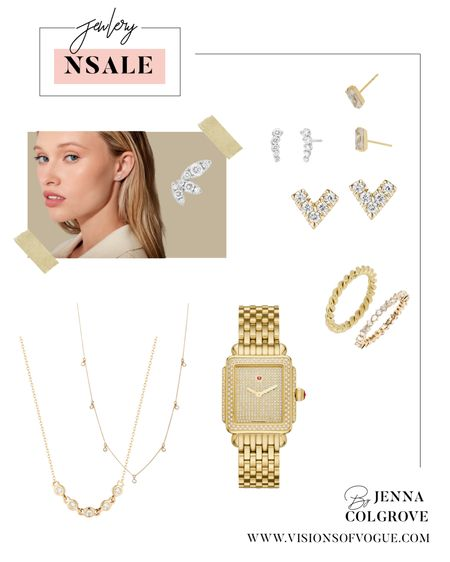 The best classic gold jewelry  from the Nordstrom Anniversary Sale (NSALE)! I love this Michele gold watch and these layered necklaces, stud earrings, and stacking rings!   #LTKunder50 #LTKsalealert #LTKstyletip