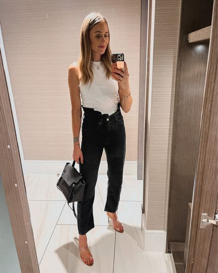 Summer night outfit. White tank (small) black ruffle waist jeans (tts) clean heeled sandals (tts) #summeroutfit #shopbop  #LTKshoecrush #LTKstyletip #LTKunder100