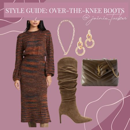 Over-the-knee boots can be styled in so many different ways. Here's one of them! | #overthekneeboots #fallboots #womensboots #styleguide #blazer #sweaterdress #falloutfit #workwear #workoutfit #dinneroutfit #datenight #JaimieTucker  #LTKworkwear #LTKstyletip