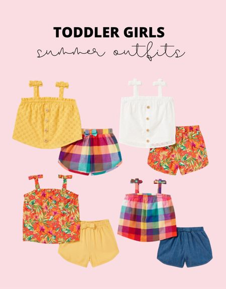 These toddler girl summer short sets are adorable and only $13! How cute would these be as a toddler family photo outfit or vacation outfit?   #LTKfamily #LTKbaby #LTKkids