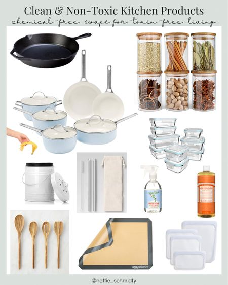 It's never a bad time to eliminate more toxins from your home — especially your kitchen. Here's my roundup of clean & nontoxic kitchen products. By going plastic-free you can go toxin-free and be more sustainable. Try swapping ceramic cookware and cast iron skillets for traditional nonstick cookware sets, glass canisters with bamboo lids for food storage, get a kitchen compost bin!, silicone baking mats instead of parchment paper, bamboo or wooden spoons and cooking utensils and silicone food storage bags instead of snack, sandwich and freezer bags. And of course, don't forget metal drinking straws  .  Shop your screenshot of this pic with the LIKEtoKNOW.it shopping app http://liketk.it/3gSgQ #liketkit @liketoknow.it #LTKfamily #LTKhome #LTKunder100 @liketoknow.it.home