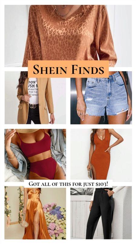 Fall SheIn finds under $50! I love every single one of these items. Satin leopard blouse, tan blazer jacket, high waist shorts, burgundy swimsuit bikini, rust orange dress, satin wedding guest dress, black pants.  #LTKSeasonal #LTKunder50 #LTKworkwear