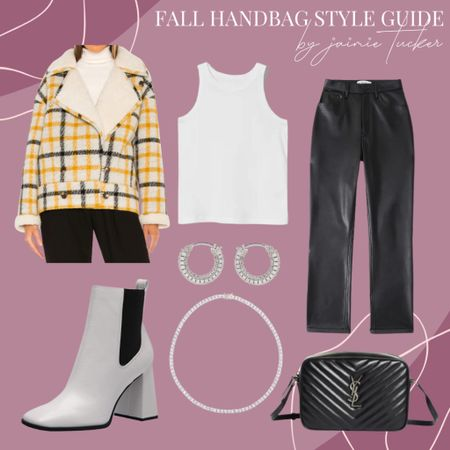 Love this outfit. If you're into the faux leather pant look, this style guide is calling your name. Pair your best faux leather pants with a basic top and vibrant teddy coat this fall. | #workoutfit #workwear #teddyjacket #teddycoat #plaidcoat #fauxleatherpants #fauxleatherdenim #racerbacktank #tanktop #fallbasics #whiteboots #whitebooties #silverjewlery #dinneroutfit #datenightout #JaimieTucker  #LTKstyletip #LTKworkwear #LTKSeasonal