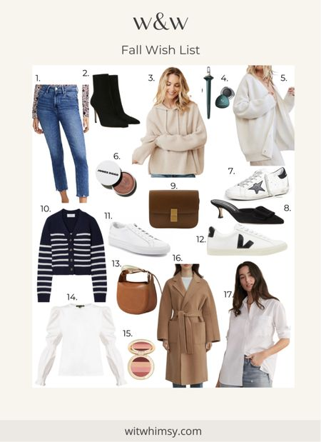 My Fall Wish List of classic staples and investment pieces. Fall fashion Fall outfits   Cropped jeans Cashmere sweaters Camel coat Veronica beard heeled ankle booties Chloe bag Celine bag La Ligne cardigan Sleek sneakers Golden goose sneakers    #LTKSeasonal