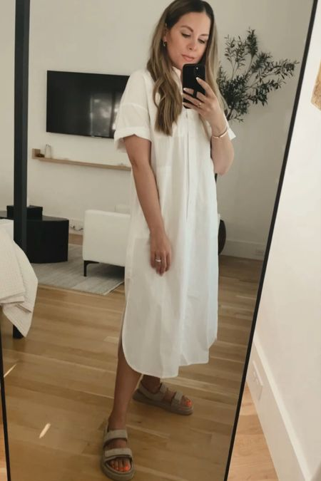 White dress with sandals 🤍 size down, dress runs large. I'm in an XS but wish I got the XXS