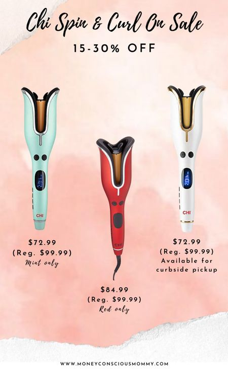 Chi Spin & Curl On Sale!   Mint & Red 15-30% off Prime White 30% off & Available for Curbside Pickup  | Chi | Hot Tools | Curling Iron |   #LTKbeauty #LTKsalealert #LTKunder100