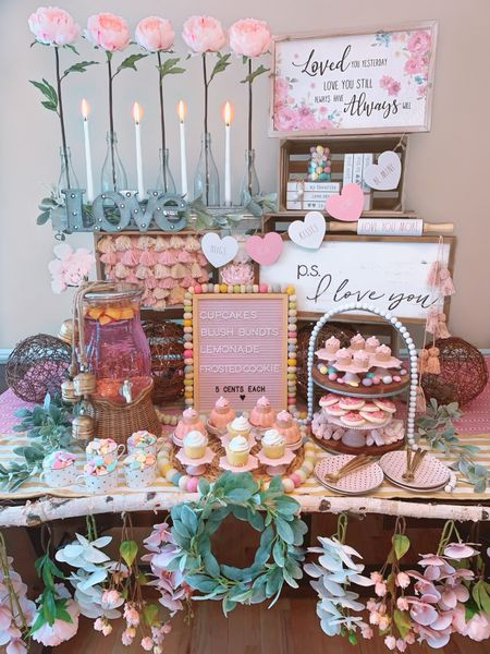 The Blossoming Bakery - a Twinkle Lights and Cornbread original design.   Create the most whimsical farmhouse display for your loved one filled with pink peonies, farmhouse wall decor, a beautiful tiered tray, a blush letter board, wooden heart garland, a lighted LOVE sign, a wicker lemonade dispenser, and a glass vase bottle runner with the prettiest pink peonies!    http://liketk.it/3iNy9 #liketkit @liketoknow.it