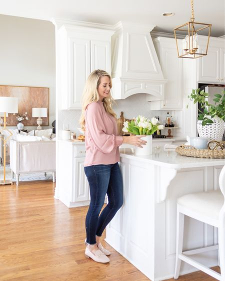 Loft, spring outfit, pink loafers, pink shoes, kitchen decor, white kitchen, brass faucet, brass lantern pendant light, white cane bar stools, woven basket. #liketkit @liketoknow.it @liketoknow.it.home http://liketk.it/3aLz8