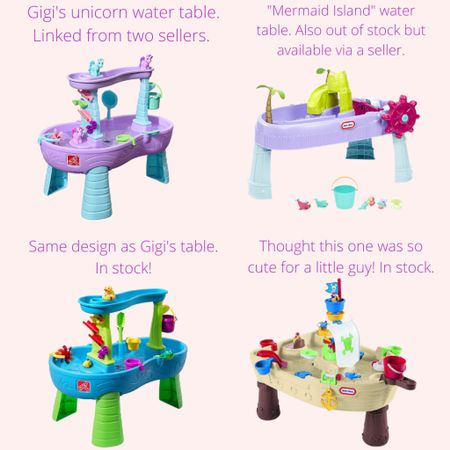 Never thought I would be on here, breaking down water tables but here we are! 😂 It seems that the water tables in the cute, girly color schemes are out of stock. So I had to purchase through a seller (it was brand new in box) and I've linked two options for her unicorn table via sellers. I also found a mermaid version available via a seller. Last two are both in stock - one in a unisex color scheme the exact same design as Gigi's and one I thought was cute for a little guy! @liketoknow.it http://liketk.it/3hoHN #liketkit #LTKkids #LTKswim #LTKfamily #watertable #toddler