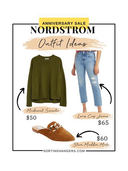 Nordstrom Anniversary Sale Outfit Ideas ✨  Madewell Sweater | Steve Madden Mule | Levi's Crop Ankle Straight Jeans   #LTKstyletip #LTKsalealert #LTKunder100