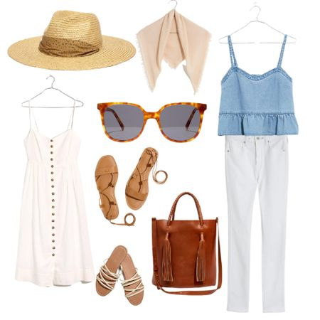 Grab these pieces done the perfect summer vibes. All of these pieces would be great additions to a capsule wardrobe.   Spend $125 and get $25 off during the LTKDay sale! White Denim : White Jeans : Women's Top : Sunglasses : Madewell : Leather Tote : Sandals : Linen Dress : White Dress : Straw Hat : Summer Dress : Beach Vacation Outfits : Summer Outfits    #LTKDay #LTKsalealert #LTKunder50