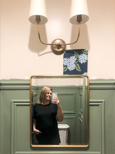 """If you've been following along with my stories, you know I've been working on the trim and paint in the powder room. And it's DONE!! Now on to getting that wallpaper up! I'll be sharing everything in a detailed blog post coming soon, but I couldn't resist giving this sneak peek! I'm obsessed! 😍 (I've saved everything in a highlight called """"wall trim"""" if you missed any of the stories!) . Also, I may need to get a bigger mirror??? It's gonna look too small, I'm afraid. 😔 * * * * * #bathroommakeover #bathroompic #roommakeover #makeovers #roominspiration #bathroominspo #mybhg #countrylivingmag #smploves #ltkhomedecor #bathrooms #bathroomgoals #traditionalhome #traditionalhomedecor #traditionalhomedecorating   #LTKhome"""