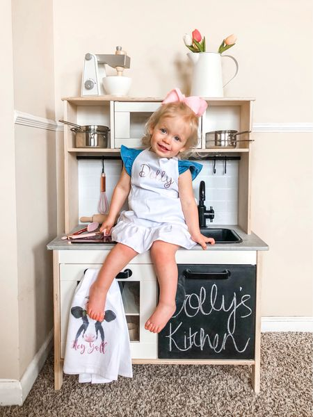 The best things in life are sweet 👩🏼🍳🍩🌷🧁 I'm sharing all about Dolly's play kitchen on my blog! It turned out SO cute & we play with it every single day 💗 if only my kitchen could look like this in real life 😉  Read the post at meeklyloving.com   #LTKbaby #LTKfamily #LTKhome