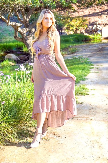 Spending some time with mother nature on an evening walk is one of my favorite things to do with my hubby and Saylor. 🌸🌳💕  Now that the weather has turned beautiful, I'm getting to enjoy all my dresses again like this amazing Mauve Front Tie Maxi Dress from @shoppinkblush. 20% OFF WITH CODE LUV2SAVE Shop your screenshot of this pic with the LIKEtoKNOW.it app @liketoknow.it.europe @liketoknow.it.family @liketoknow.it.home @liketoknow.it.brasil http://liketk.it/2Dd2L #liketkit @liketoknow.it #LTKbeauty #LTKbrasil #LTKeurope #LTKfamily #LTKsalealert #LTKshoecrush #LTKspring #LTKstyletip #LTKtravel #LTKunder50 #LTKunder100 #LTKwedding #LTKworkwear   #shoppinkblush #prettyinpink