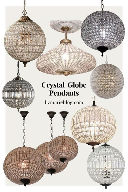 Here are some crystal globe pendants that are similar to the lighting in our front living room!   #LTKhome