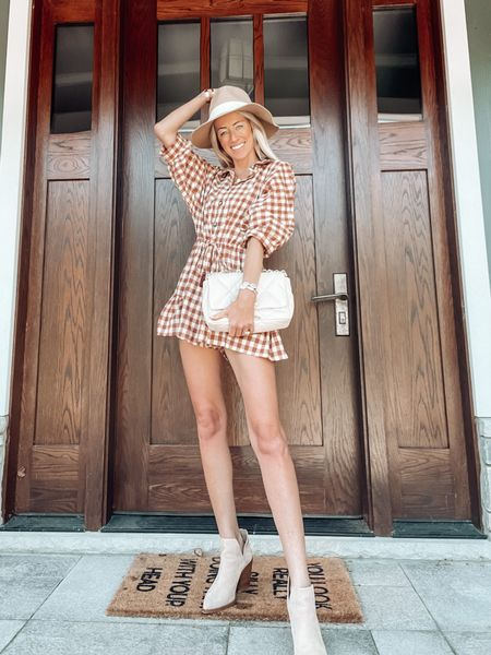 Fall outfit ideas Buffalo plaid romper dress  Apricot lane boutique code: JENNA Outfits for fall Ankle booties tortilla suede from Nordstrom   #LTKSeasonal #LTKstyletip