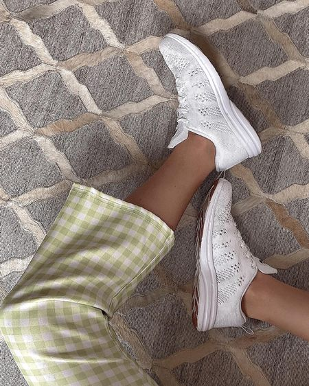 Asos's green and white checkered high waisted cropped flare pants, APL sneakers, casual look, summer ootd, cute on the go outfit, stretchy high rise pants, white gym shoes, Asos's US, Nordstrom, style, stylish, looks for less , affordable fashion, outfit inspo, moschino, summer crop top, stripes, striped shirt http://liketk.it/3ghJ7 @liketoknow.it #liketkit #LTKunder50 #LTKstyletip #LTKfit