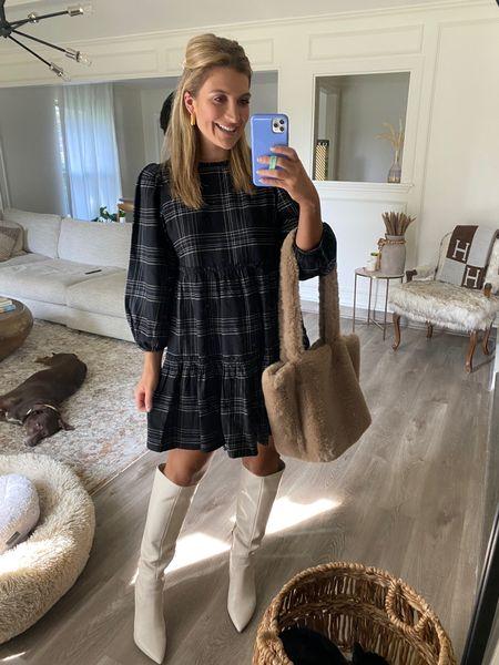 From my brunch outfit tiktok💗 Plaid dress is sooo cute for Fall! Linking white boots too   #LTKsalealert #LTKshoecrush