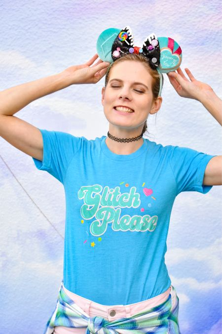 Are you a princess, Vanellope? Glitch Please!! She's a racer! Love this shirt and it pairs perfectly with these mouse ears 🍬💙🍭 #disney #shopsmall   #LTKstyletip #LTKfit #LTKunder50