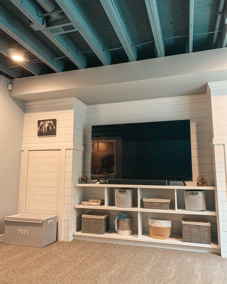 Playroom. Living room organization. Basement ceiling. Organization ideas. Home storage. Target home. Storage bins. Home solutions. Target style. http://liketk.it/3joqF @liketoknow.it @liketoknow.it.home #LTKfamily  #liketkit #LTKhome #LTKunder50  #shiplap #basement #homeorganization #modernfarmhouse #basementceiling #targethome #toddlermomlife #toyorganization #storageideas #playroom #homeblogger #wallstorage #storageideas #basket #playroomorganization #farmhousedecor #shiplapwalls #homestorage #shelfstyling #targetstyle #farmhousestyle #basementdecor #bonusroom #toychest #shelf