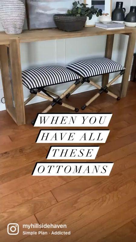 My ottoman collection! 😂 Striped ottomans, console styling, bedroom inspo, studio McGee   #LTKsalealert #LTKstyletip #LTKhome