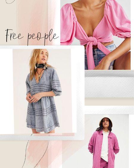 Free people, set, denim dress, western, crop top, sweater set, ribbed shorts http://liketk.it/3hFRZ #liketkit @liketoknow.it #LTKstyletip #LTKunder100