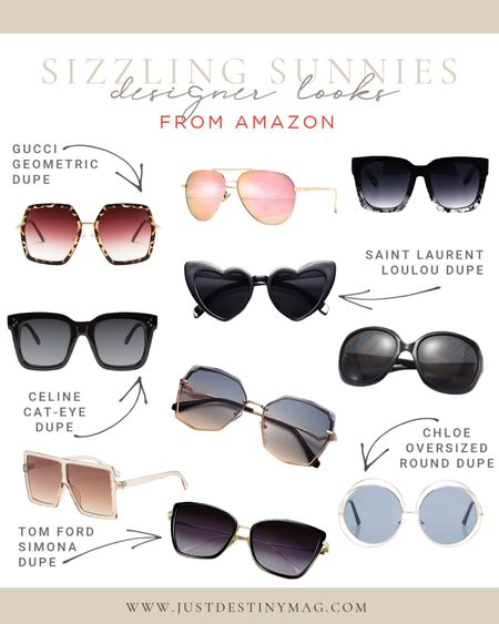 I found some awesome sunglasses on Amazon that have the perfect designer look without the designer prices!  Here are some of my faves!  #endofsummer #sunglasses #designerdupes #amazon  #LTKunder50 #LTKstyletip #LTKSeasonal