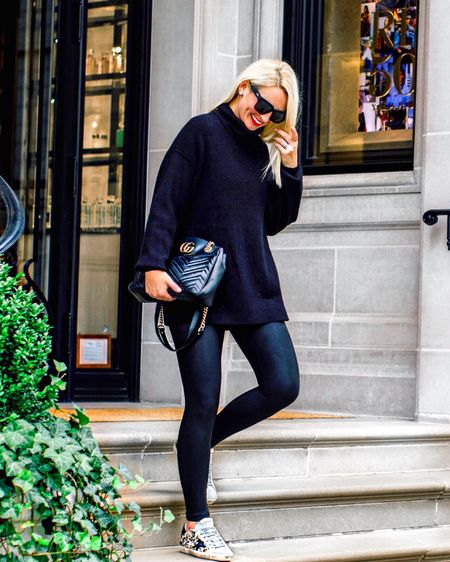 The slouchy sweater tunic!  Free People Tunic and Spanx Faux Leather Leggings.  Order your normal size in the tunic for an oversized fit. .  http://liketk.it/2XsGN #liketkit @liketoknow.it #LTKstyletip #LTKitbag #LTKshoecrush